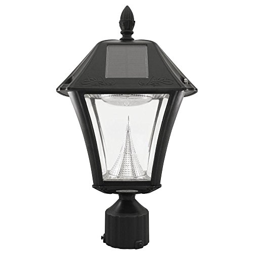 Baytown Ii Outdoor Black Resin Solar Post Light With 10 Bright White Led And 3 In. Fitter Mount by Gama Sonic