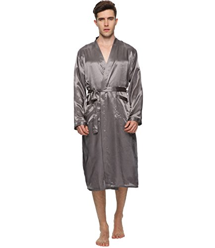db87e28de1 FAYBOX Men Satin Robe Long Bathrobe Lightweight Sleepwear