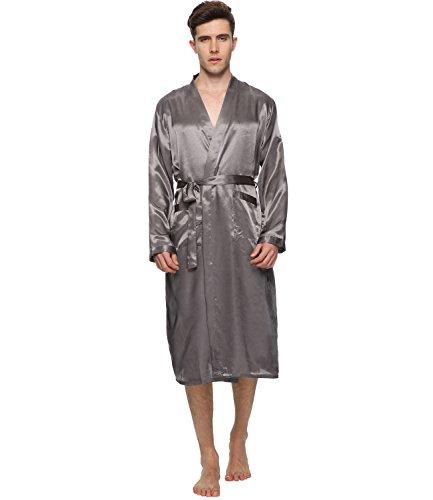 FAYBOX Satin Bathrobe Lightweight Sleepwear