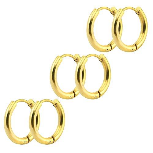 3-4 Pairs 8mm-20mm Stainless Steel Men Women Hoop Earrings Cartilage Lip Piercing Nose Hoop 16G (Gold-tone 3 Pairs(10mm)) - Gold Tone Sport Earrings