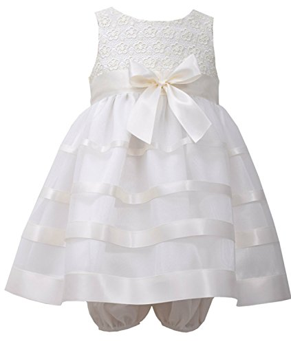 Bonnie Jean Baby-Girls Ivory Lace Ribbon Dress (24 months)