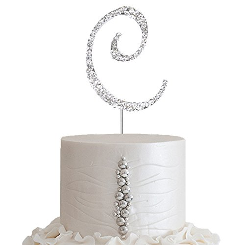 BalsaCircle 2.5-Inch Tall Silver Letter C Crystal Rhinestone Cake Topper - Personalized Monogram Wedding Birthday Party - Silver 2.5 Inch Monogram