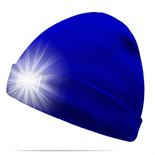 Ultra Bright 5 LED Beanie Cap/Hat Hands Free Unisex Lighted Stocking Cap Perfect Hands Free Flashlight For Camping,Hiking,Hunting,Fishing,Jogging,Construction or Just For Fun One Size Fits Most (Lighted Pom Poms)