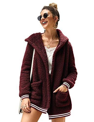 LOMON Womens Oversized Jacket Fleece Fuzzy Long Sleeve Open Front Cardigans Hooded Coat Winter Outwear with Pockets(Wine Red,M)