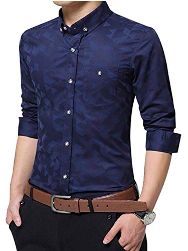 XinnanDe Mens Floral Printed Button Down Patterned Long Sleeve Dress Shirt Deep Blue M