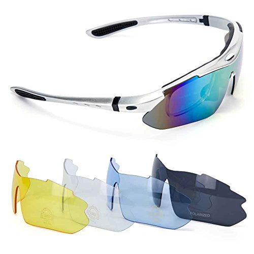 Polarized Sports Sunglasses, Outdoor Sun Glasses with 5 Interchangeable Lenses for Men Women Running, Fishing, Racing, Skiing, Climbing, Trekking or other outdoor activities enthusiasts - Eyeglasses Try Change
