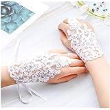 Olbye Women's Wedding Lace Gloves Fingerless Bridal Tulle Gloves Rhinestone Sequins Wrist Cuffs Hook Finger Gloves White (Style2)