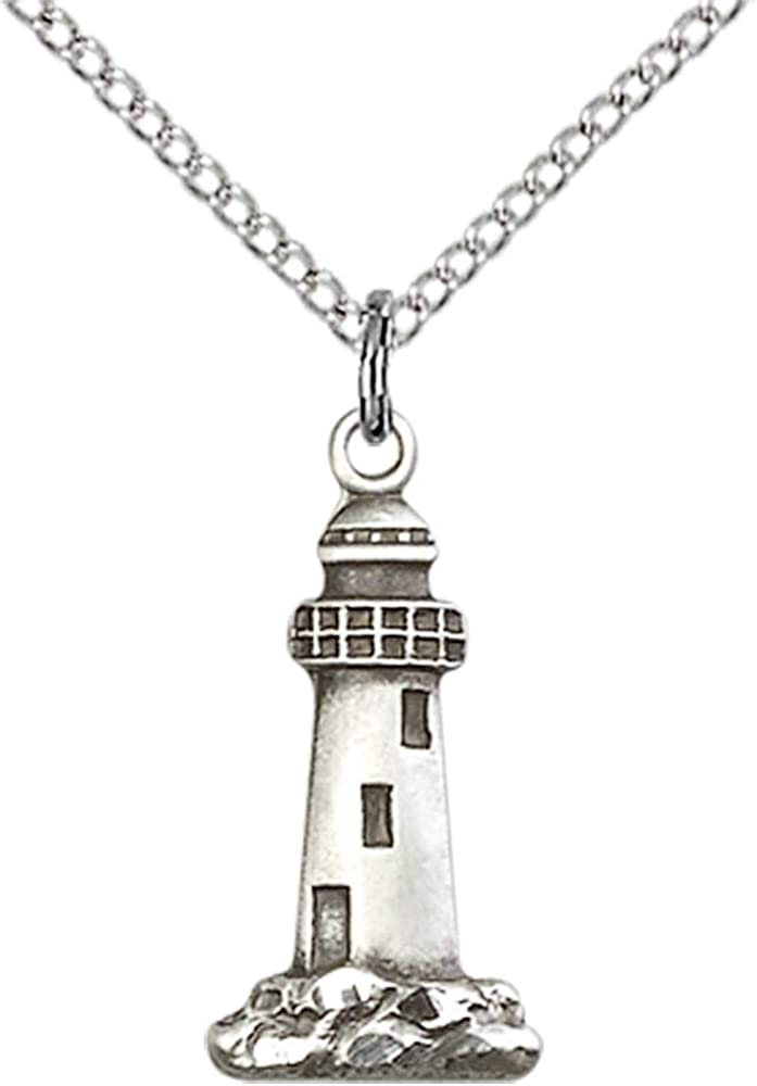 Rhodium-plated 925 Silver Lighthouse Pendant with 18 Necklace Jewels Obsession Lighthouse Necklace