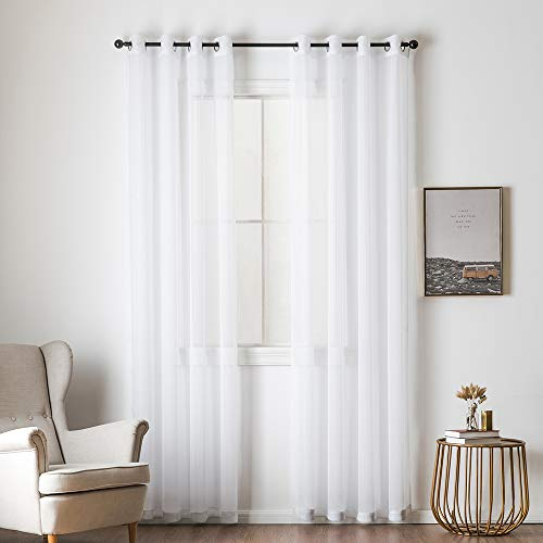 MIULEE 2 Panels Solid Color White Sheer Curtains Elegant Grommet Window Voile Panels/Drapes/Treatment for Bedroom Living Room (54X90 ()