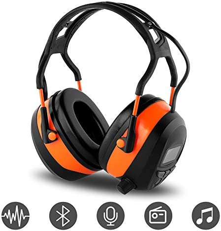 FM MP3 Bluetooth Radio Headphones Wireless Cancelling Headphones with 4GB Memory Card Built-in Mic Electronic Noise Reduction Safety Ear Muffs Protection for Lawn Mower Work by means of WULFPOWERPRO