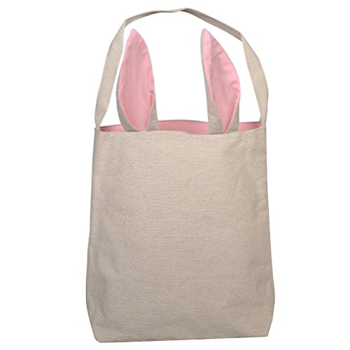 OULII Easter Bags Baskets Bunny Ear Bag Easter Gift Bag DIY Easter Eggs Packing Dual Layer Jute Tote Bag Party Favor(Pink)