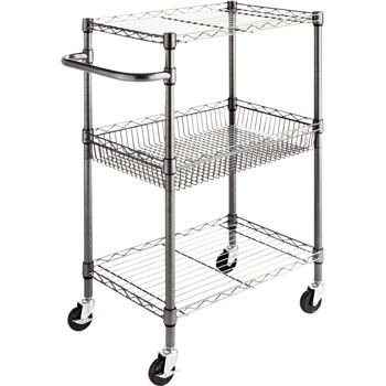Alera SW342416BA Three-Tier Wire Rolling Cart, 28w X 16d X 39h, Black Anthracite