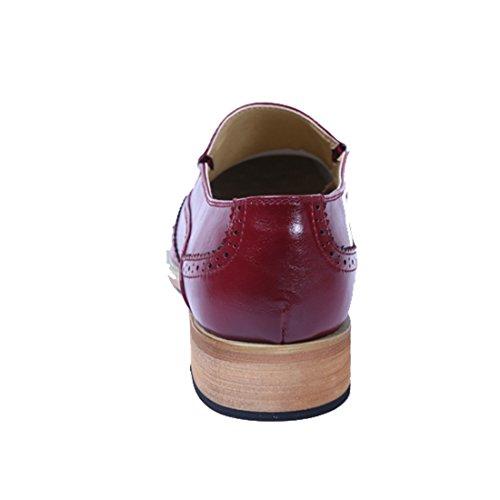 Xiafen Mens Mode Formell Klänning Oxfords Slip-on Bekväm Tillfällig Spetsig Tå Oxford Skor Vinröd