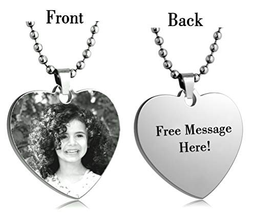 - Interway Trading Personalized Heart Custom Photo Color Engraved Dog Tag Necklace Pendant with 24 inch Stainless Steel Chain, Velvet Giftpouch and Keyring