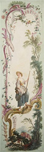 Oil Painting 'Jacques De LaJoue (attributed To) - Seven Decorative Panels Mounted In A Screen - Shepherdess, C. 1730-40' Printing On High Quality Polyster Canvas , 12x42 Inch / 30x105 Cm ,the Best Nursery Decoration And Home Gallery Art And Gifts Is This High Quality Art Decorative Canvas (Makeup In The 80s)