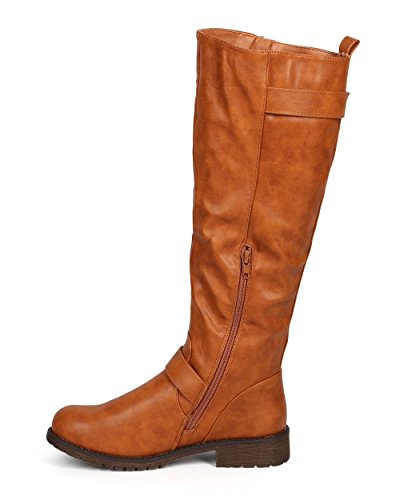 Liliana DA28 Women Distressed Leatherette Knee High Buckle Strap Zip Riding Boot - Camel Leatherette rc1hHAS