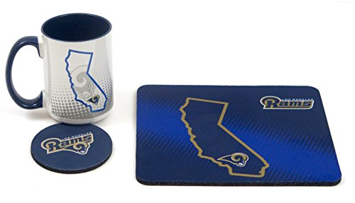 Coffee Mug Mouse Pad (Los Angeles Rams work station, computer set. Includes coffee mug, Mouse pad, coaster, 3 pieces set. 4)
