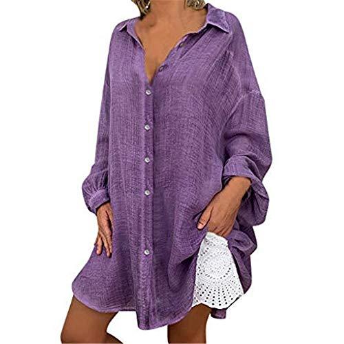 Aniywn Women's Long Sleeve Button Down T-Shirt Lapel Neck Plus Size Solid Color Casual Long Tops Purple