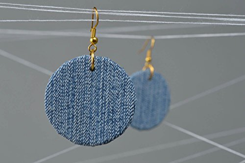Date Designer Earrings (Large Handmade Designer Denim Round Earrings Of Light Color For Every)