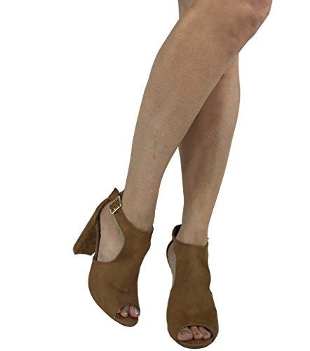 Bella Mode Les Femmes Bout Ouvert Bride À La Cheville Bootie Sandale Ouverte Côté Coupe Milieu Bloc Talon Bronzage