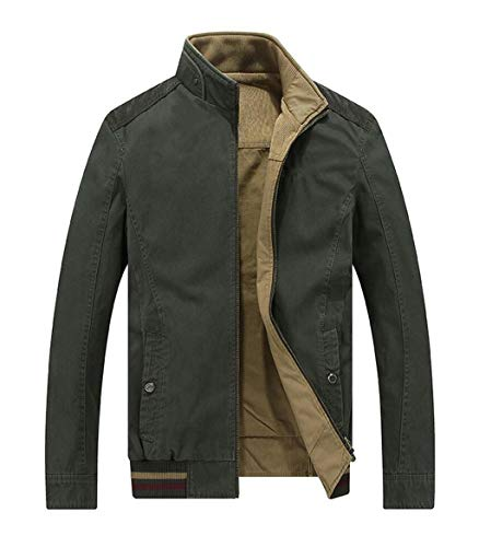 Color Jacket Green Both Warm And Winter Solid In Casual Wind Stand Fashion Collar Coat And Men's On Sides Wear Autumn TwH4q5x