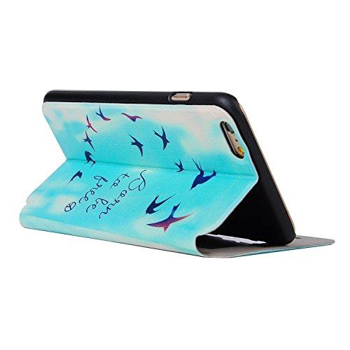 MOONCASE Apple iPhone 6 Case Slim Window View Design Tasche Flip Leder Schutzhülle Etui Case Cover Hülle Schale für Apple iPhone 6 / 6S (4.7 inch) XA06