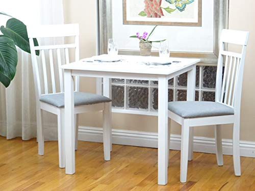 (SunBear Furniture Dining Kitchen Set of 3 Square Table and 2 Side Warm Chairs Classic Solid Wood in White Finish)