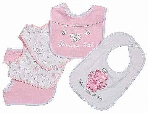 [Little Beginnings 5 Piece Baby Bibs for Girls, Heaven Sent, Pink] (Minnie Mouse Nose)