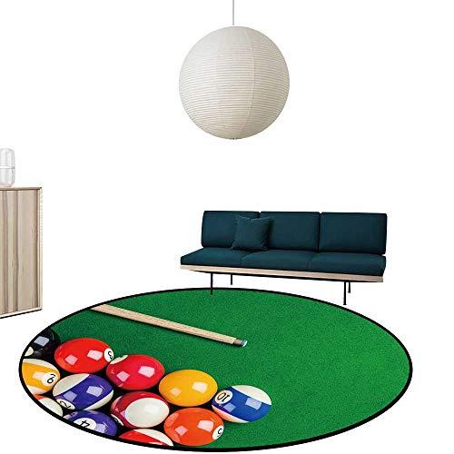 "Beautiful Circular Bedside Rug billiar Balls on Green Table billiar cue Snooker Pool Game Antiskid Entrance Mat Diameter-23.6"""