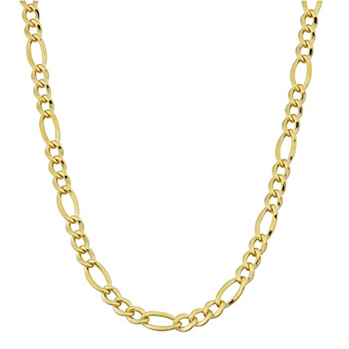 Kooljewelry 14k Yellow Gold Filled Solid 3.2mm Figaro Link Chain (20 inch)