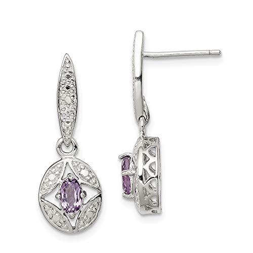 925 Sterling Silver Purple Amethyst Diamond Post Stud Drop Dangle Chandelier Earrings Fine Jewelry Gifts For Women For Her (Earrings Diamond Tone Silver Chandelier)