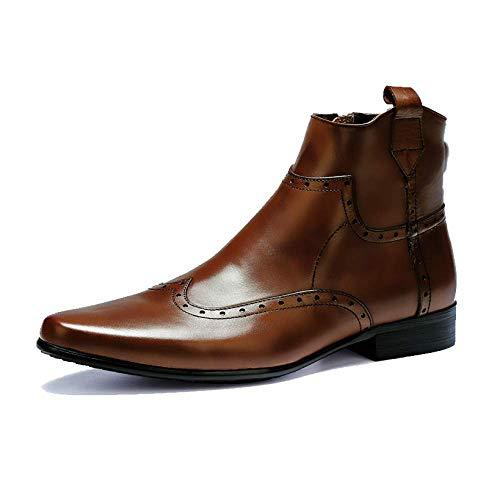 E NIUMT Chelsea Uomo Stivali Stivaletti Stivali Business in Brown Inverno da Pelle Fashion Uomo Stivali da Vintage Autunno FFqrHw5