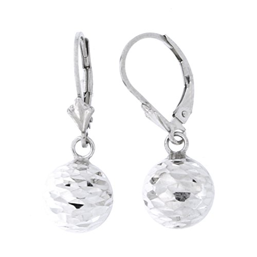 Sterling Silver Rhodium Plated Diamond Cut Ball Dangle Earrings, 10 Millimeters