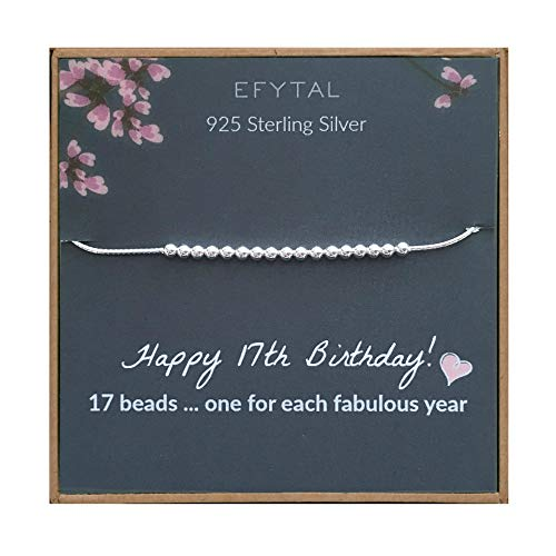 EFYTAL 17th Birthday Gifts for Girls, 925 Sterling Silver Bracelet, 17 Beads for 17 Year Old Girl, Jewelry Gift Idea