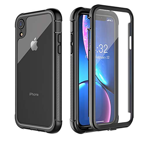 iPhone XR Case, Pakoyi Full Body Bumper Case with Built-in Screen Protector Slim Clear Shock-Absorbing Dustproof Lightweight Cover Case for iPhone XR (6.1 inch) (Black/Clear)