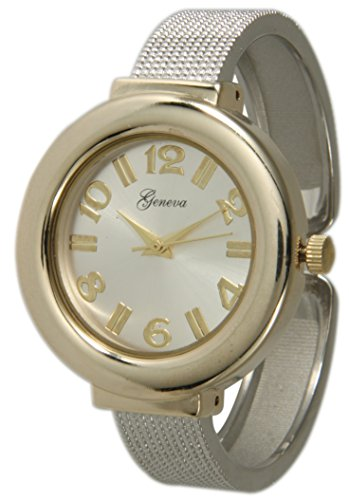 (Two Tone Mesh Like Ladies Bangle/Cuff Watch with Sunray Dial (Two Tone))