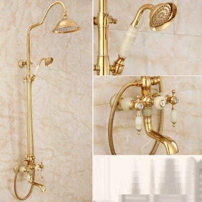 Gulakey バスルームのシンクの蛇口洗面器のミキサータップローズゴールドジェイドシャワーセット真鍮ゴールドシャワー温水と冷水サーモスタットシャワー洗面シンクタップ浴室バーの蛇口