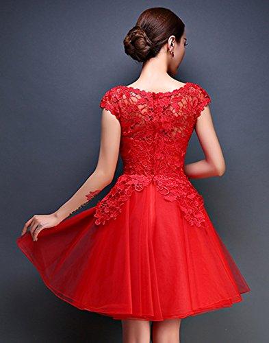 der DL0021A Taille Party an Bright Cocktailkleid Rot mit Damen Great Blumenapplikation Kleid qw8Fxw7pA