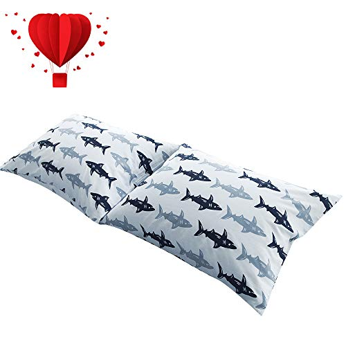 BuLuTu Cotton Navy/Grey Shark Print Bed Pillowcases Set of 2 Queen White Fish Pillow Covers Decorative Standard For Boys Girls Envelope Closure End-Premium,Breathable,Hypoallergenic (2 ()