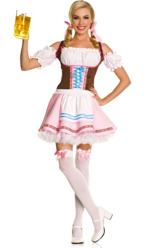 ToBeInStyle Women's 3 Piece Oktoberfest Beer Girl Dress W/ Hair Bows & Thigh Hi - Medium/Large - Multicolored