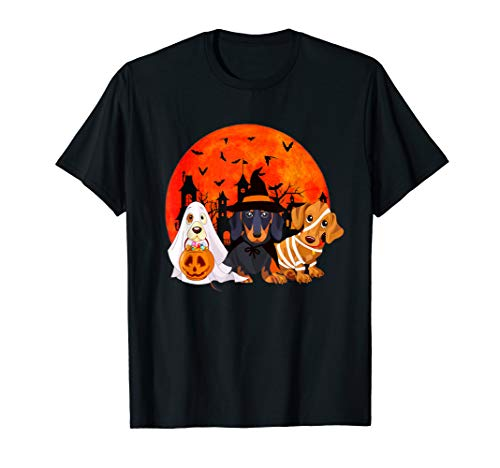 Dachshund Halloween Shirt (Dogs Halloween Horror Shirt Dachshund Mummy Witch The Nun)