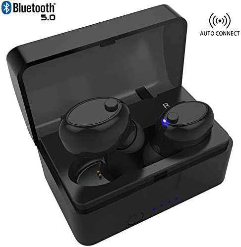Mini Wireless Earbuds Bluetooth 5.0 Earpiece Headphone - Noise Cancelling Sweatproof Headset with Microphone Built-in Mic and Portable Charging Case for iPhone Samsung Smartphones