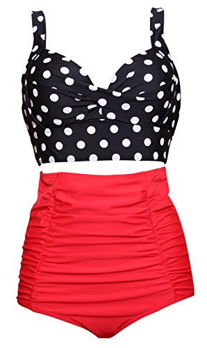 Women Retro Vintage Swimsuits Push Up Underwire High Waisted Bikini Set Polka Dot Bathing Suits