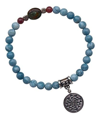 THE GODDESS BRACELET - Larimar, Emerald and Pink Tourmaline Healing Gemstone Stretch Bracelet with Sterling Silver Hill Tribe Sun Beads & Sterling Silver Sri Yantra Medallion ()