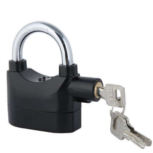 KKmoon Anti-Theft Security System Keyed Padlock, 110dB with 3 Keys, Black