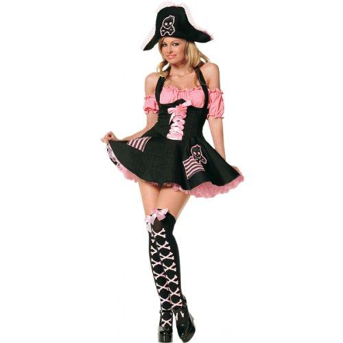 [Leg Ave Women's 3 Piece Treasure Hunt Pirate Costume, Black/Pink, X-Small] (Leg Avenue Treasure Hunt Pirate Costume)