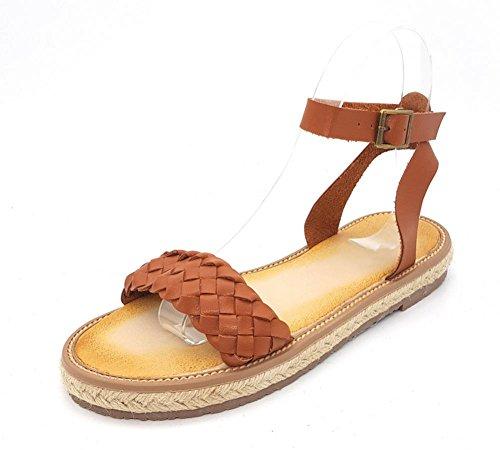 Sommer Sandalen beiläufige flache Sandalen und Pantoffel Wort Schnalle Sandalen vorne offen flache Schuhe mit rutschfesten Frauen Sandalen gewebt brown