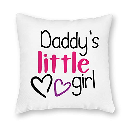 DKISEE Decorative Daddys Little Girl Square Throw Pillow Cover Canvas Pillow Case Sofa Couch Chair Cushion Cover for Home Decor