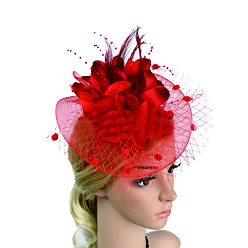 Jewelry Discounts Net - Sunworld Bridal Fascinator Net Yarn Hairpin Bow Hat Hair tie jewelry Red