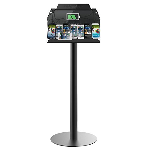 ChargeTech - Tower Floor Stand Cell Phone Charging Station w/ Universal Charging Tips Included - Community Charge Station for all devices: IPhone, Samsung Galaxy - For Businesses, Events (Model: S9) by ChargeTech